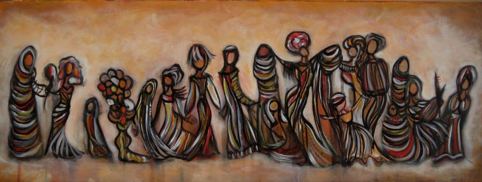 """A sample of Laila Masri's """"Scenes from Inside the Seraglio"""" at Bloomingdales, Dubai Mall, depicting the individual woman's search for identity. Click on the image to be taken to the websource."""