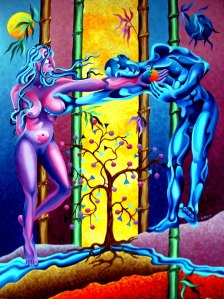 "Adam and Eve, 2003, 40"" x 30"", oil on canvas by Danny C. Sillada"