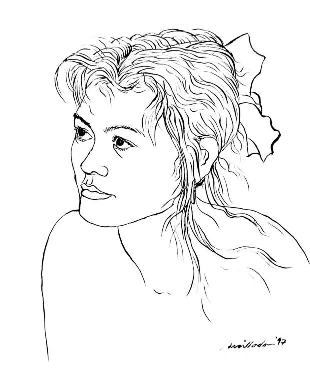Iza, pen & ink on paper by Danny C. Sillada