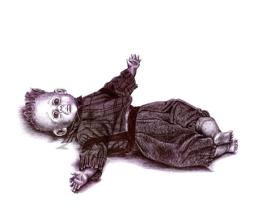 "Abandoned Doll (Still Life 2003), 11"" X 10.5"", ballpoint on paper by Danny C. Sillada"