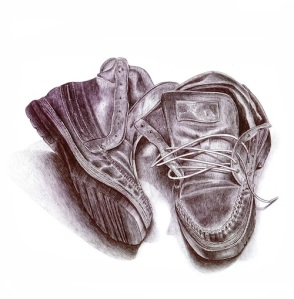 "Abandoned Shoes (Still Life 2003), 11"" X 10.5"", ballpoint on paper by Danny C. Sillada."