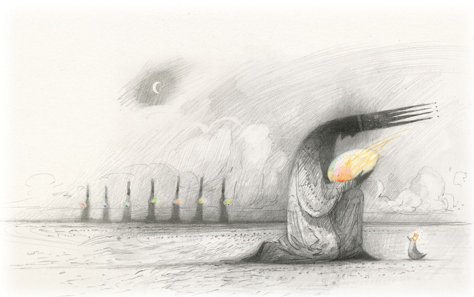 From Shaun Tan's The Bird King - 'The Eight Eggs' graphite and coloured pencil - taken from Shaun Tan's website. Click on the image to be taken to the websource.