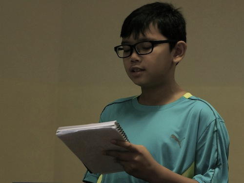 young author Chen Kai practicing his spiel