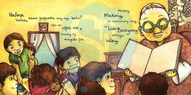 Lola Basyang and her grandchildren. Artwork by bachinienie.