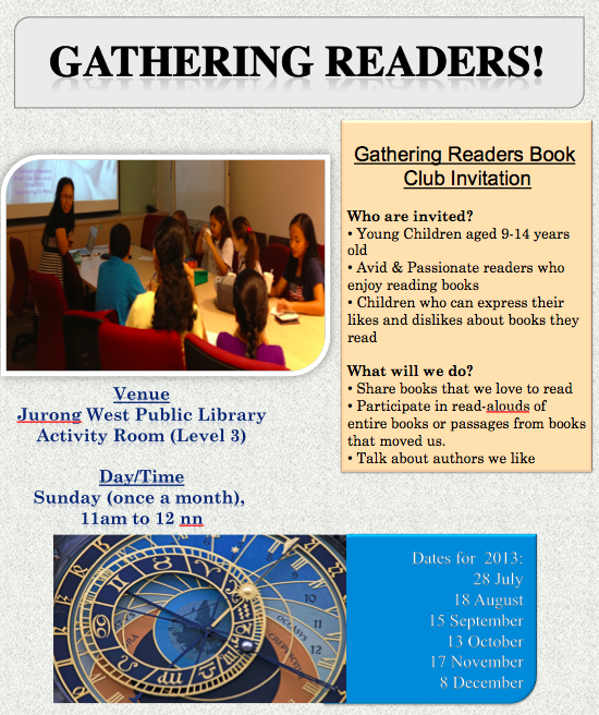 This is the poster created by the NLB people that serves as an invitation to children all over Singapore who may be interested in participating in the book club.