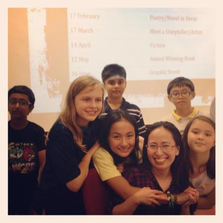 """GatheringReaders, my book club for young readers, after discussing Gene Luen Yang's """"American Born Chinese"""""""