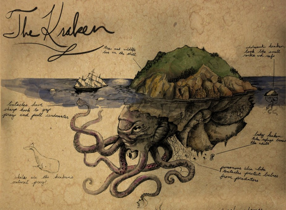 The kraken is said to be mistaken by seafarers as an island. Click on the image to be taken to the websource.