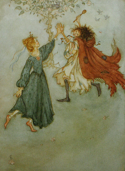Tatterhood and Isabella dancing. Artwork done in watercolor and ink. Click on the image to be taken to the websource.
