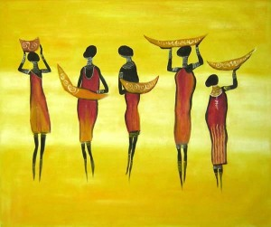 Group of women in oil painting.