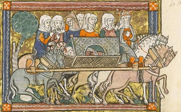 Queen Guinevere, wife of King Arthur, leads a wounded Sir Lancelot, a Knight of the Round Table and Guinevere's lover. Click on the image to be taken to the websource.