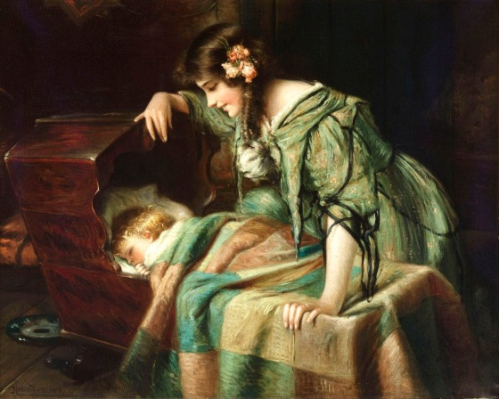 Mother and Child. Art by 19th century American painter, Harry Roseland. Click on the image to be taken to the websource.
