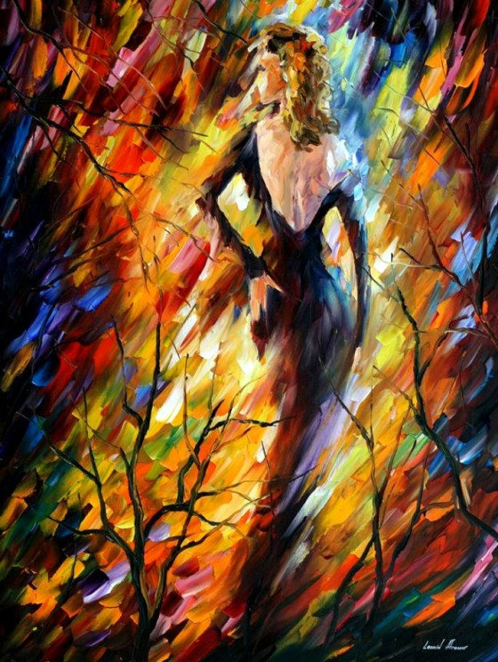 QUEEN OF FIRE, palette knife oil painting on canvas by Leonid Afremov.