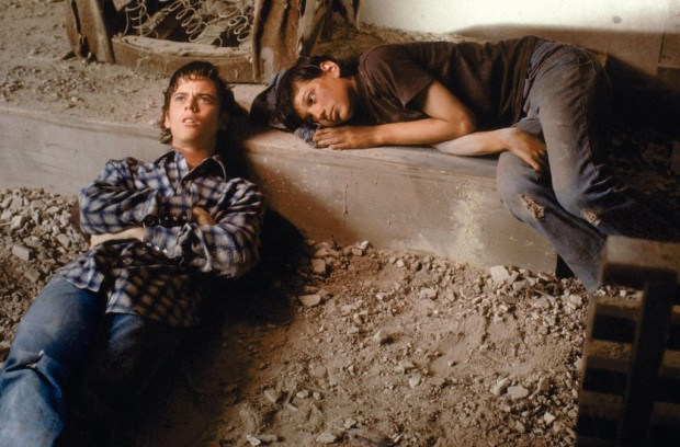 Teenage fugitives Ponyboy and Johnny camping out at the church.