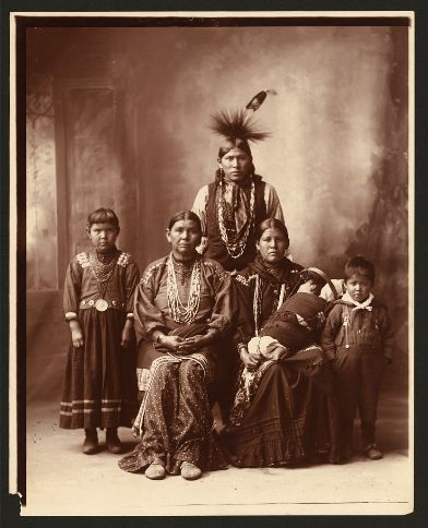 A Sauk (Sac) family in 1899. They were from an Algonquin tribe. Click on the image to view the websource.