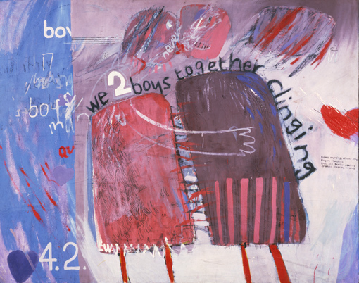 """WE TWO BOYS TOGETHER CLIINGING"" 1961 OIL ON BOARD 48 X 60"" © DAVID HOCKNEY"