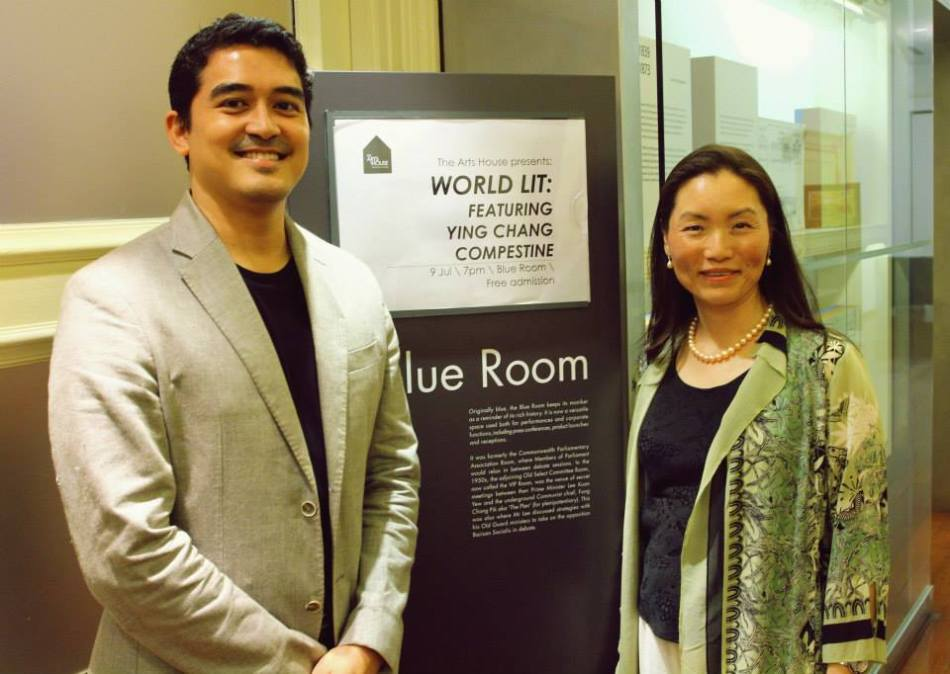 Ying Chang Compestine with AFCC Festival Director and Deputy Director of Singapore Book Council, Kenneth Quek. Photo courtesy of Carlo from Book Council.
