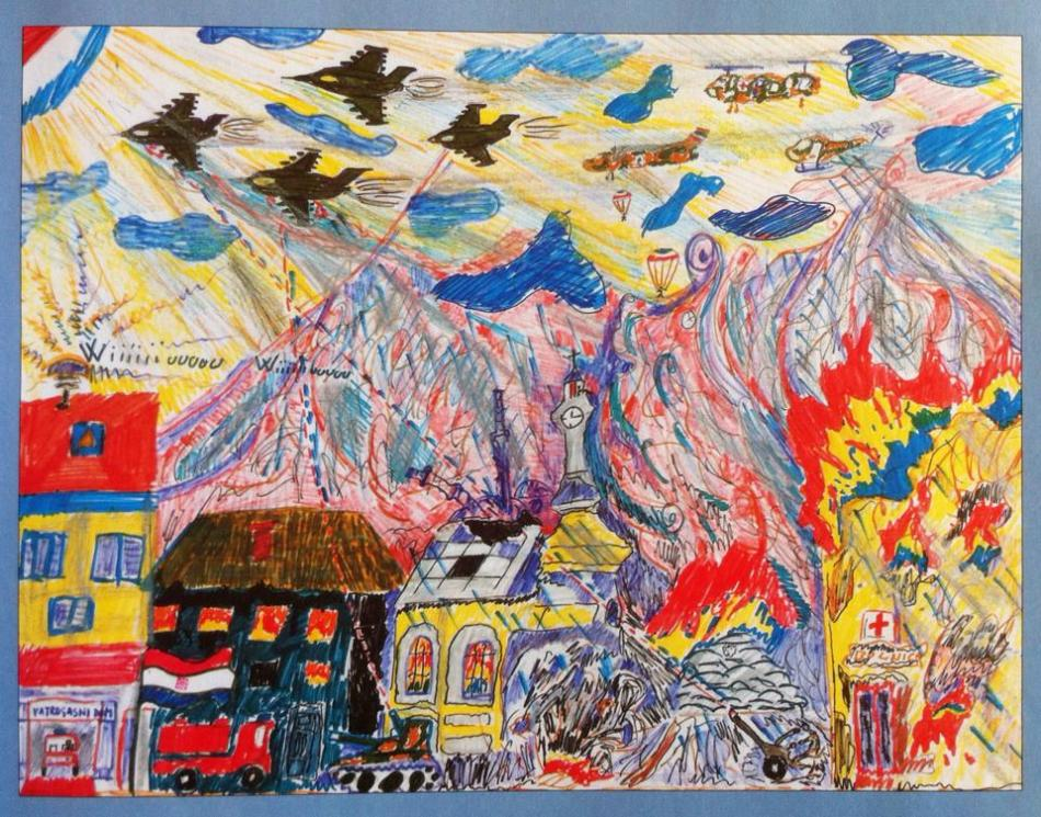 This is my favorite portrayal of war, artwork done by Robert, 14, a refugee from Foca.