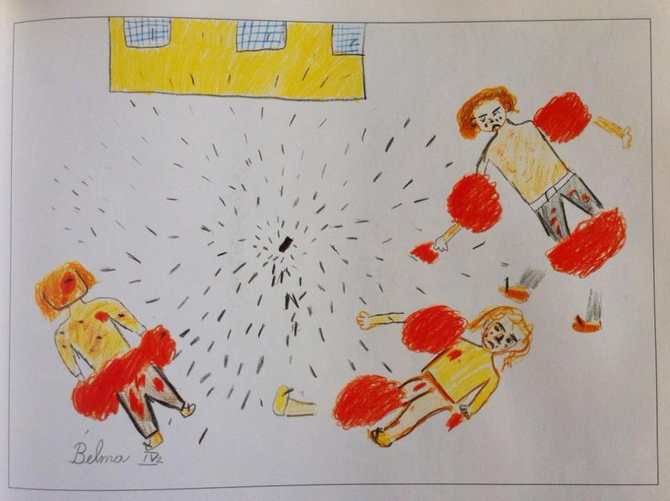 """""""We were only waiting for candies,"""" by Belma, 10, Sarajevo."""