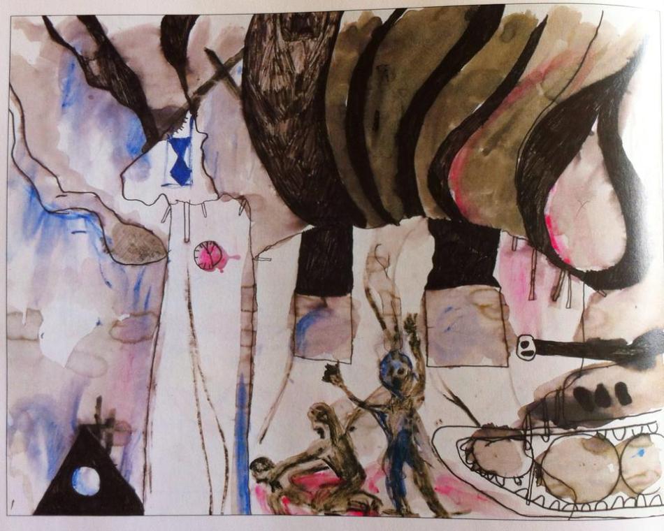 """My worst fear,"" a Tim Burtonesque illustration by Marija, 12, from Bosanski Brod."