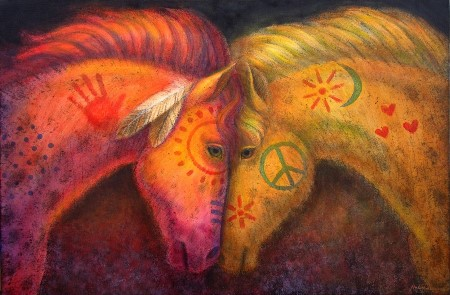 """Horses War Peace"" painting by Sue Halstenberg."
