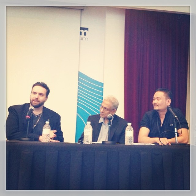 """Alternate Realities"" panel at Singapore Writers Festival. From L-R: (Jason Erik Lundberg, Rajeev Patke (center, modereator), Dean Francis Alfar. Photo by Felicia Low-Jimenez."