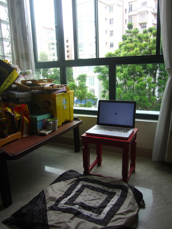 This was where I wrote a good part of Sula's Voyage, a corner of our flat in Singapore overlooking some greenery. The rest of it I wrote in snatches in coffee shops, on the bus, and in the study lounge at the Singapore National Library.