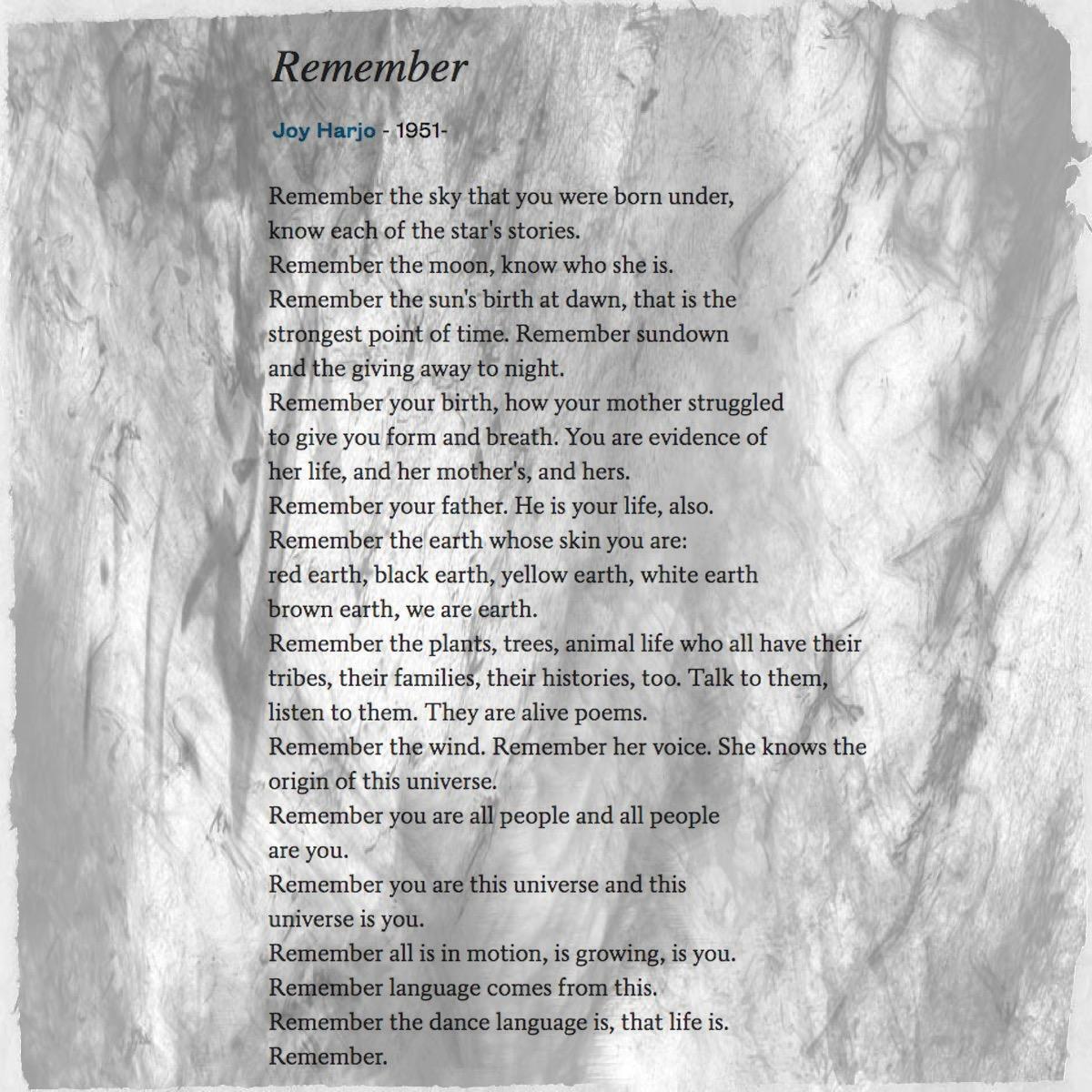 "Poetry Friday] Joy Harjo's ""Remember"" – Gathering Books"